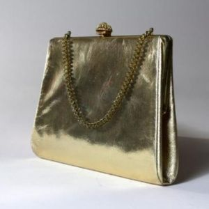 Vtg 60s/70s Conv Clutch Gold Chain Purse Bag
